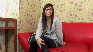 Tiny mounds geeky Aian hottie in glasses getting stripped on a camera