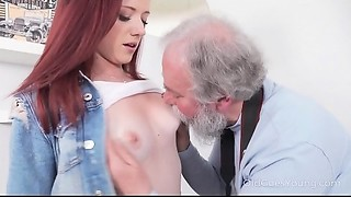 Mature Goes Juvenile - Hot hottie obeys aged photographer who tells her to strip