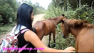 HD Heather Unfathomable 4 wheeling on scary fast quad and Peeing next to horses in the..