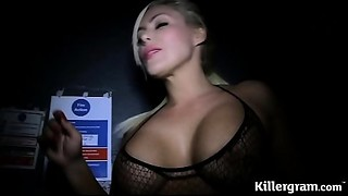 Sexy blond Mother I'd like to fuck engulfing strangers jocks in sex cinema