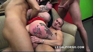 Megan Inky 1st time on LP with wicked deepthroat &amp_ balls unfathomable DP S006