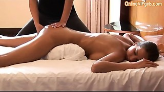 Blameless large booty dark brown receives a fisting pleased ending massage