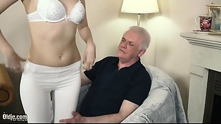 Juvenile blond hardcore oral-service and unfathomable taut snatch fucking with older man..