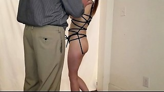 Dad punishes youthful young slut daughter by hanging her up and drubbing her