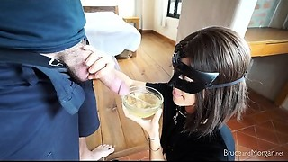 Sloppy Coarse Deepthroat BJ - Urinate Cum Drinking, Leash