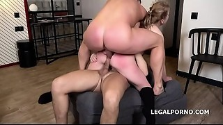 Alexa Flaxy receives 2on1 Anal-copulation and DP with coarse sex, manhandle, gapes,..