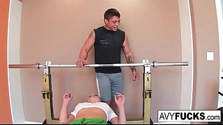 Breasty Avy Scott receives a fucking with her workout routine