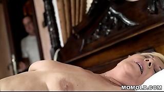 Juvenile stud watches a masturbating grandmother
