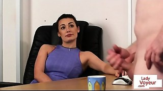 Office femdom instructs sub to jerk untill cum