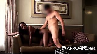 Can her slender african a-hole survive his monster cock?