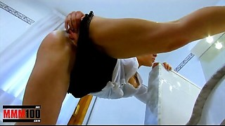 Fucking the french maid hard in the arse and making her squirt