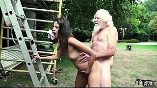 Older dude plays a sex game with juvenile beauty they have super hawt sex