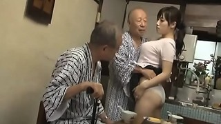 Hot Azusa Nagasawa has sex with 2 fortunate older guys