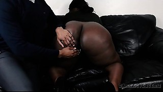 Large Dark A-hole BBW Cumming For An Interview