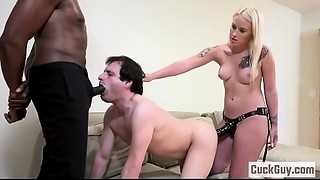 Layla and her sissy lad double teams a Huge black meat