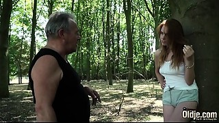 Hawt youthful redhead seducing old man and has incredible sex with him