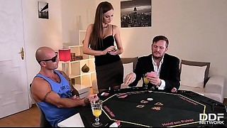 Leggy poker chick Tina Kay joins 2 chaps for XXX hardcore butt slam trio