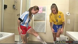 2 Youthful and charming nubiles screw their ally after the world cup