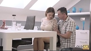 OLD4K. Daddy knew the superlatively good way to relax cute girlfriend with large love..