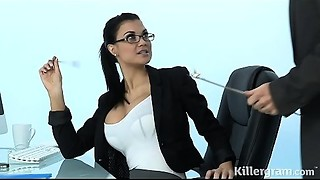 Hawt Cougar Jasmine Jae plays the office whore addicted to hard pecker