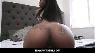 Ebony Teenie Stepsister Sarah Banks Craves Her Stepbrother To Receive Her Preggo