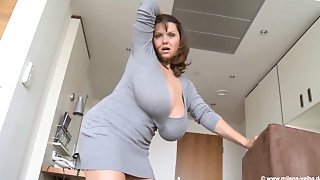 Big breasted Mother I'd like to fuck in a Grey dress plays with herself