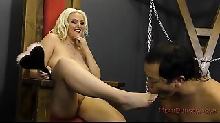 Golden-haired Bombshell Makes Her Slave Worship Her - Jenna Ivory