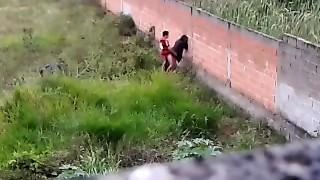 Teenie couple caught fucking outside