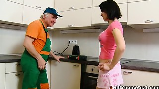 Old fellow Young gal - Anal-copulation