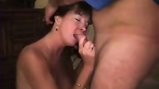 Non-professional WIFE Wife Blows 2 Dudes and Takes Semen