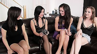 Four nice-looking beauties in a steamy lesbian sex orgy