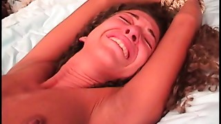 Young brunette's shaved bawdy cleft is tortured on couch by mature slave slaver guy