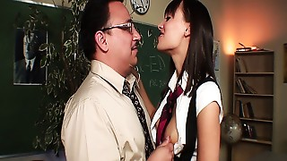 Sexually excited teacher fucking his hawt student in uniform